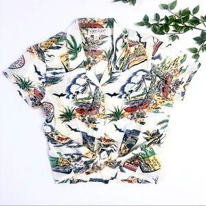Vintage Karen Kane Hawaiian Postcard Shirt